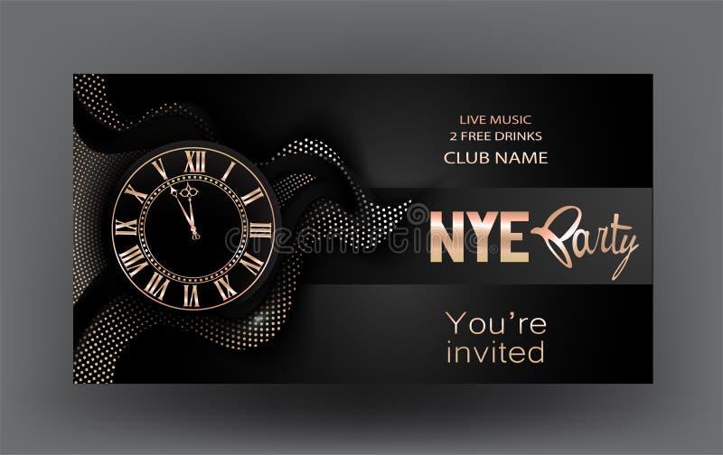 Знамя партии кануна Нового Года с золотыми часами и абстрактными элементами дизайна иллюстрация штока