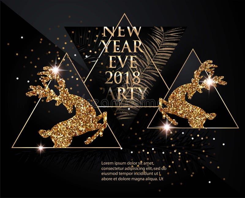 Знамя партии Нового Года с ветвями рождественской елки, оленями, бутылками шампанского и треугольниками черное золото иллюстрация вектора