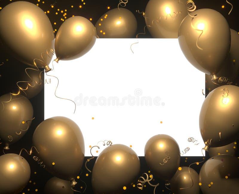 Знамя партии с goled воздушными шарами на черных предпосылке и месте для текста Поздравительые открытки ко дню рождения с днем ро иллюстрация вектора