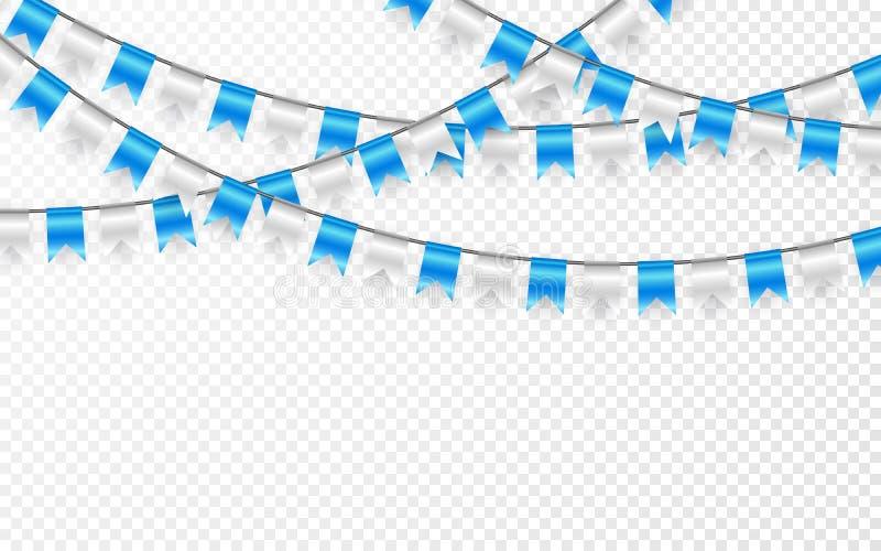 Знамя партии торжества Гирлянда флага сини и серебра также вектор иллюстрации притяжки corel бесплатная иллюстрация