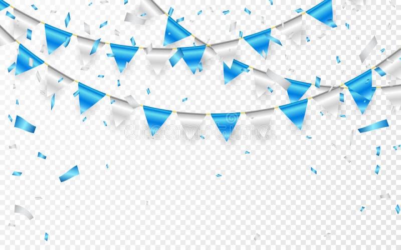 Знамя партии торжества Confetti голубой и серебряной фольги и гирлянда флага также вектор иллюстрации притяжки corel иллюстрация вектора