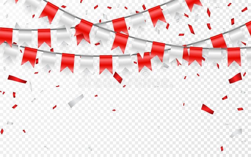 Знамя партии торжества Confetti красной и серебряной фольги и гирлянда флага также вектор иллюстрации притяжки corel иллюстрация вектора