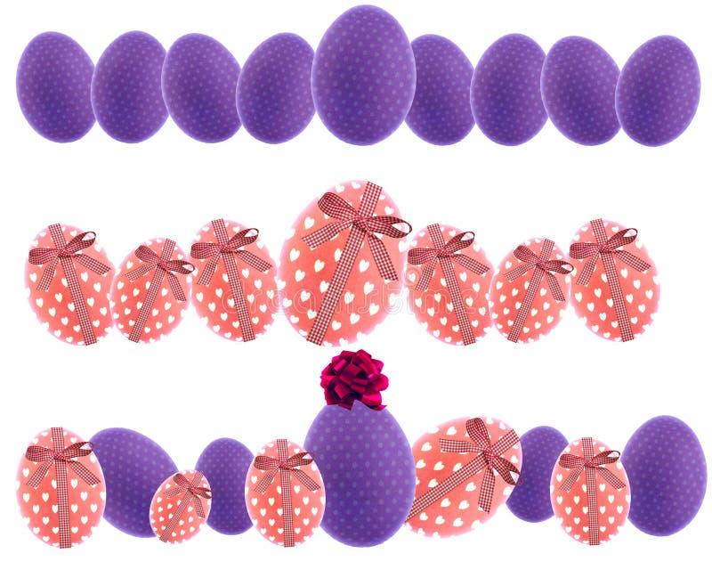 Знамя пасхи с фиолетовыми пасхальными яйцами, розовыми пасхальными яйцами с hea стоковое фото
