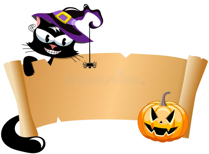 Знамя переченя черного кота хеллоуина иллюстрация штока