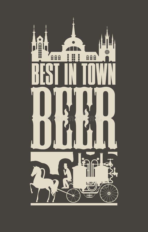Знамя пива с экипажом лошади в старом городке иллюстрация вектора