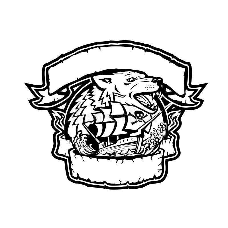 Знамя пиратского корабля волка ретро иллюстрация вектора