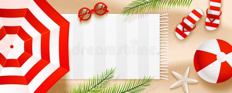 Знамя пляжа лета горизонтальное с листьями зонтиков, темповых сальто сальто, солнечных очков, шарика, полотенца и ладони на песке иллюстрация вектора