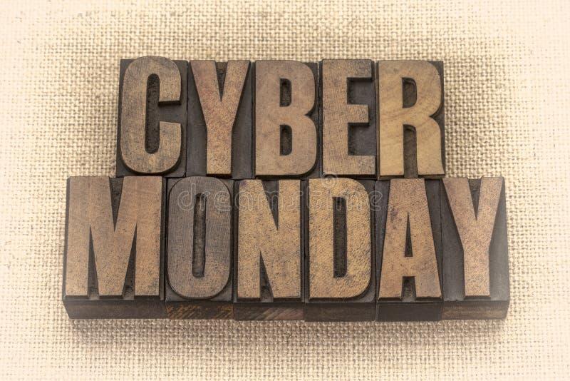 Знамя понедельника кибер в деревянном типе стоковое изображение