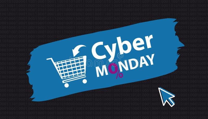 Знамя понедельника кибер при магазинная тележкаа и стрелка - иллюстрация вектора Brushstroke - изолированные на черной предпосылк иллюстрация вектора