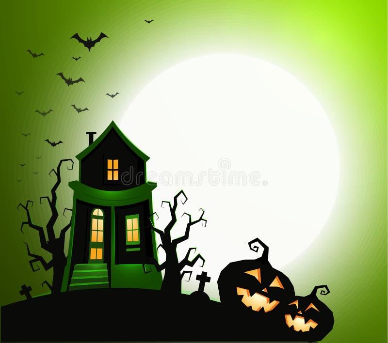 Знамя праздника хеллоуина, приглашение партии ночи, иллюстрация вектора Дом с призраком, страшным силуэтом тыквы, черным иллюстрация вектора