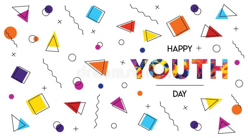 Знамя предпосылки счастливого конспекта дня молодости ретро бесплатная иллюстрация