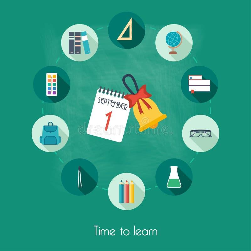 Знамя, предпосылка, плакат, концепция от школы и значки образования выучьте время к Плоский дизайн иллюстрация вектора