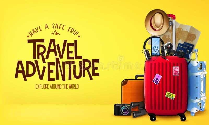 знамя приключения перемещения 3D реалистическое в желтом виде спереди предпосылки с сумками багажа бесплатная иллюстрация
