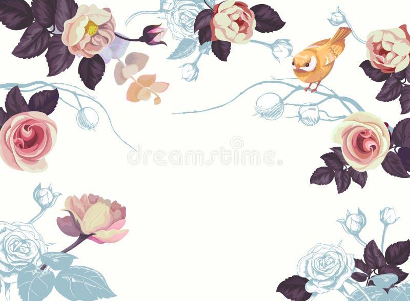 Знамя пробела акварели ветви цветка птицы весны иллюстрация вектора