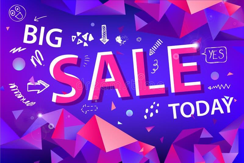 Знамя продажи вектора, плакат с нарисованной рукой doodle элементы фасетка origami 3d формирует плакаты promo иллюстрация вектора