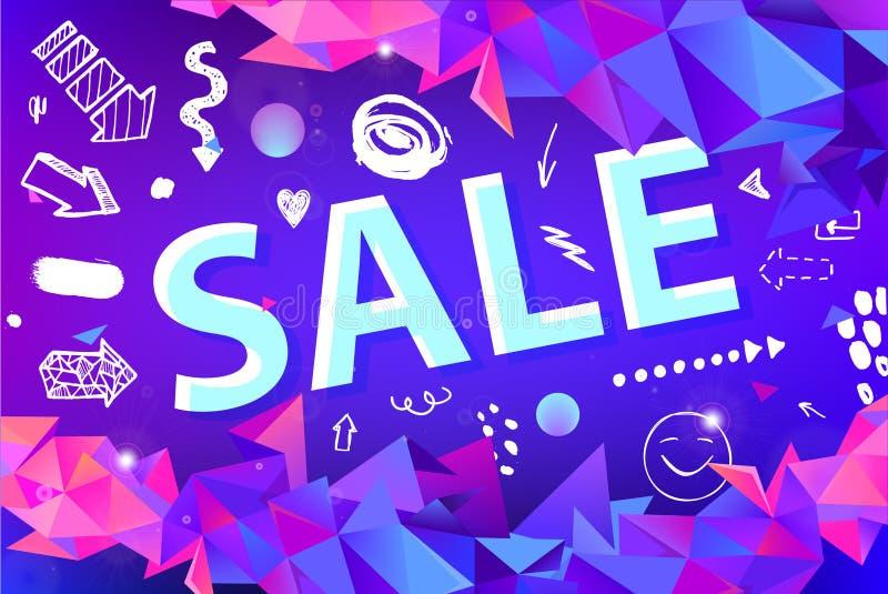 Знамя продажи вектора, плакат с нарисованной рукой doodle элементы фасетка origami 3d формирует плакаты promo бесплатная иллюстрация