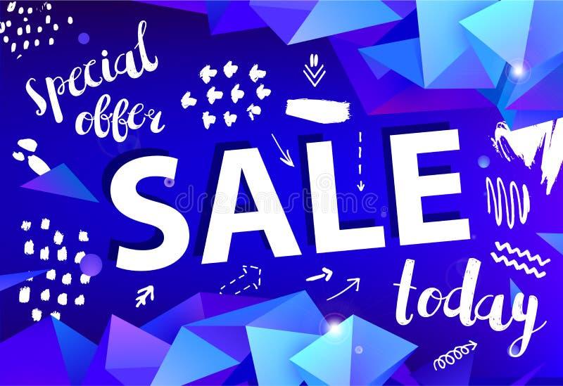 Знамя продажи вектора, плакат с нарисованной рукой doodle элементы фасетка origami 3d формирует плакаты promo иллюстрация штока