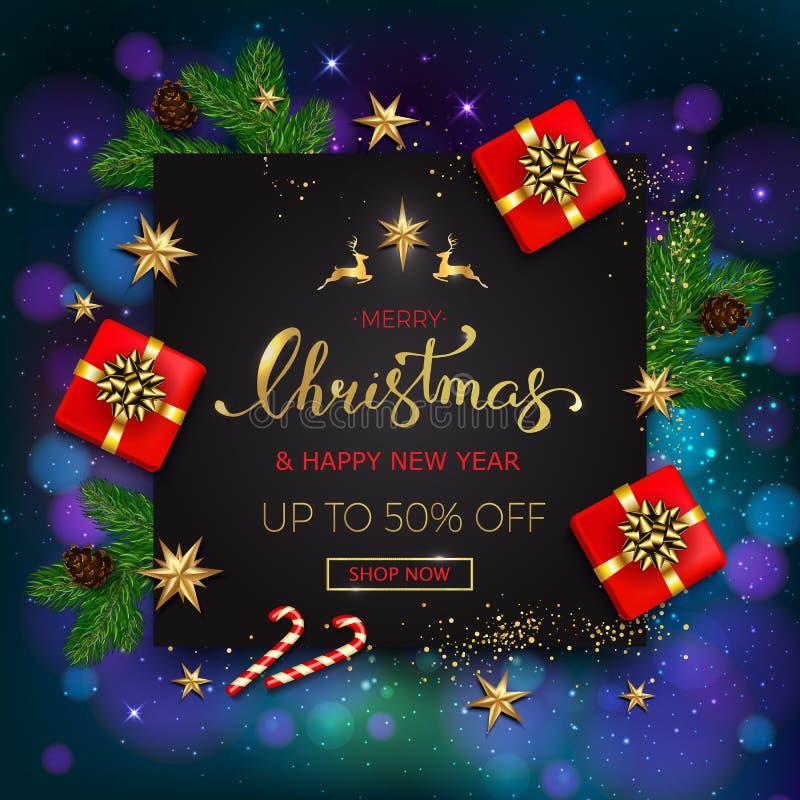 Знамя продажи веселого рождества со звездами и chr подарочных коробок золотыми бесплатная иллюстрация