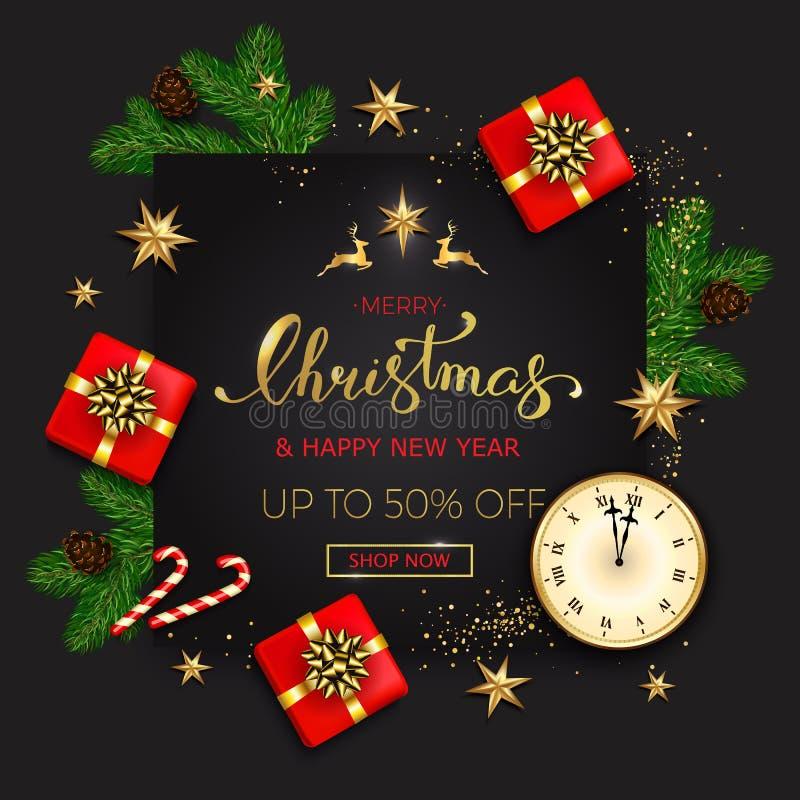 Знамя продажи веселого рождества со звездами и chr подарочных коробок золотыми иллюстрация штока