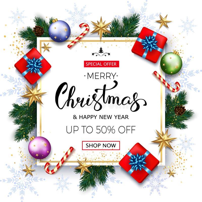 Знамя продажи веселого рождества с ветвями ели, подарочными коробками золотыми иллюстрация штока