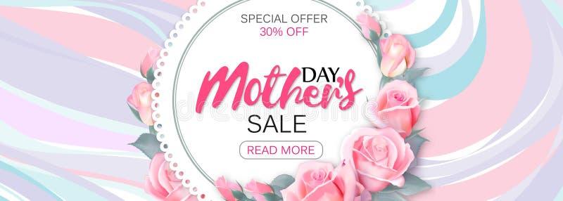 Знамя продажи дизайна шаблона на счастливый день ` s матери Горизонтальный плакат для специальной продажи дня ` s матери с мрамор бесплатная иллюстрация