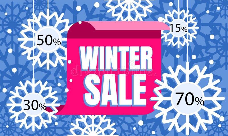 Знамя продажи зимы Выдвиженческие знамена продвижений для скидок и продаж праздника Нового Года также вектор иллюстрации притяжки иллюстрация вектора