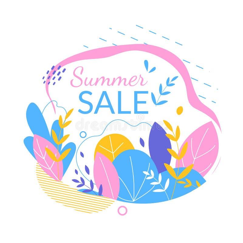 Знамя продажи лета, бирка, значок, флористический орнамент иллюстрация вектора