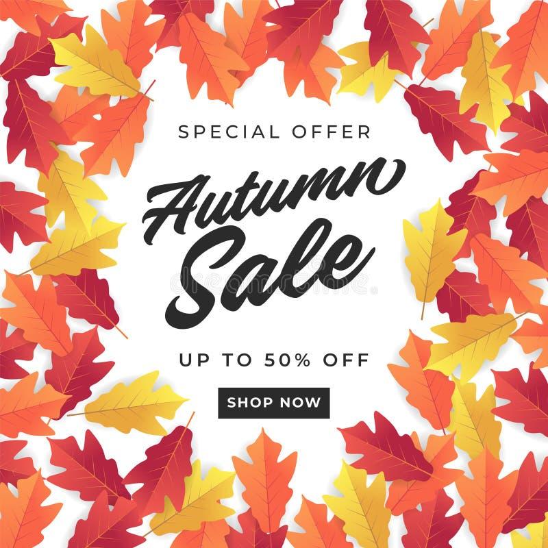 Знамя продажи осени для ходя по магазинам продажи Красочная предпосылка листьев осени иллюстрация штока