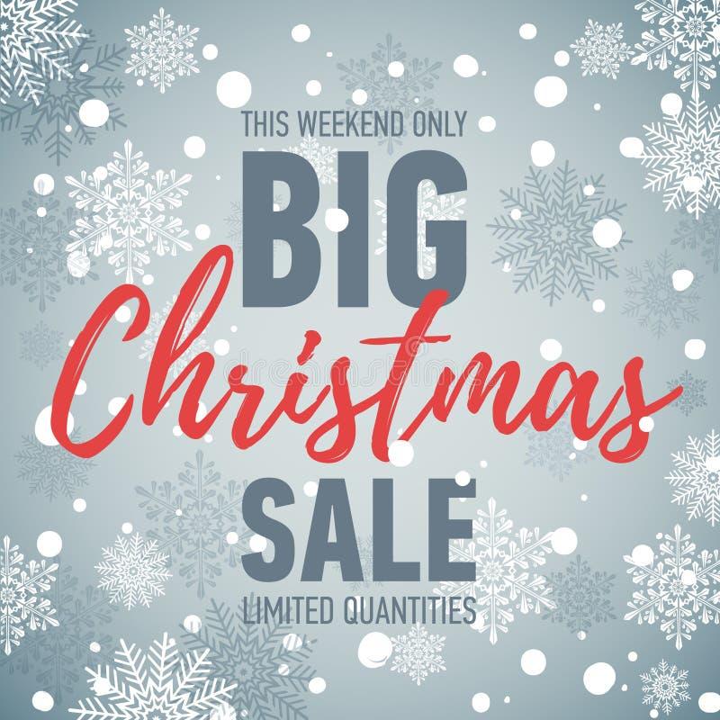 Знамя продажи рождества большое сбывание скидка праздника Знамя зимы сезонное Плакат покупок рекламы иллюстрация штока