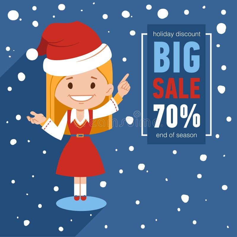 Знамя продажи рождества Иллюстрация с характером девушки Санты Знамя зимы сезонное Большая продажа 70 скидка праздника бесплатная иллюстрация