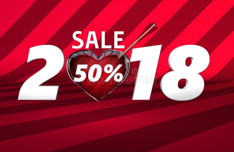 Знамя продажи сердца стрелки дня ` s валентинки иллюстрация штока