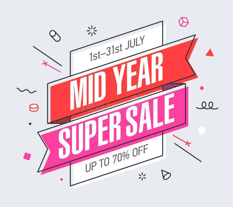 Знамя продажи среднего года супер иллюстрация вектора