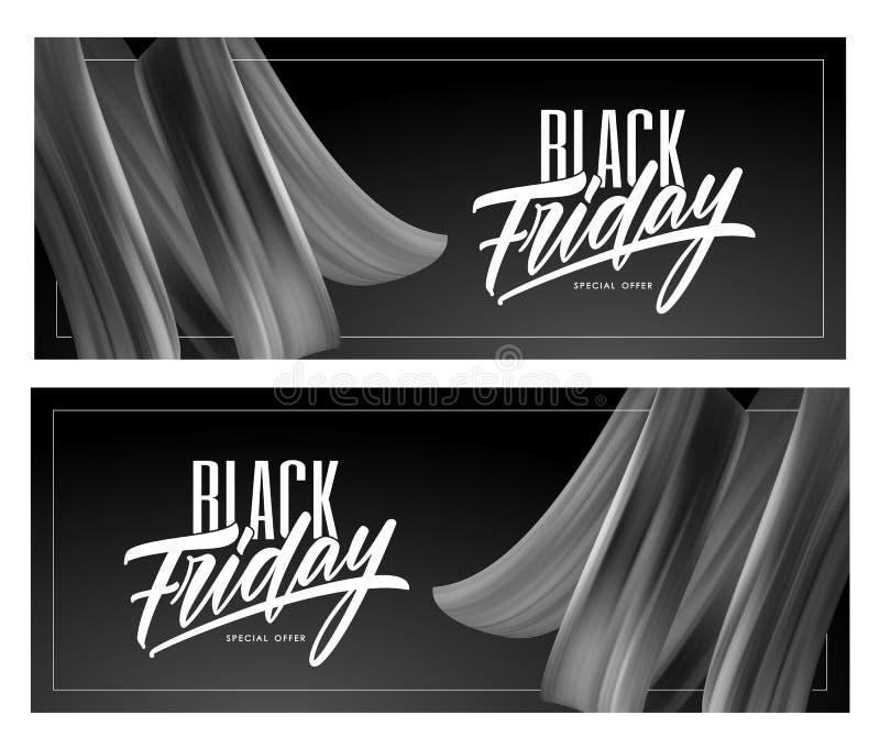 Знамя 2 продаж с типом составом литерности черных пятницы и brushstroke переплело жидкостную форму бесплатная иллюстрация