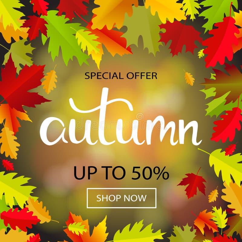Знамя продаж с multicolor листьями осени вектор иллюстрация вектора