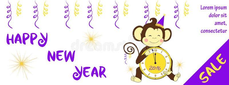Знамя продажи Нового Года горизонтальное с милой обезьяной иллюстрация вектора
