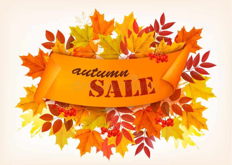 Знамя продажи осени с красочными листьями бесплатная иллюстрация
