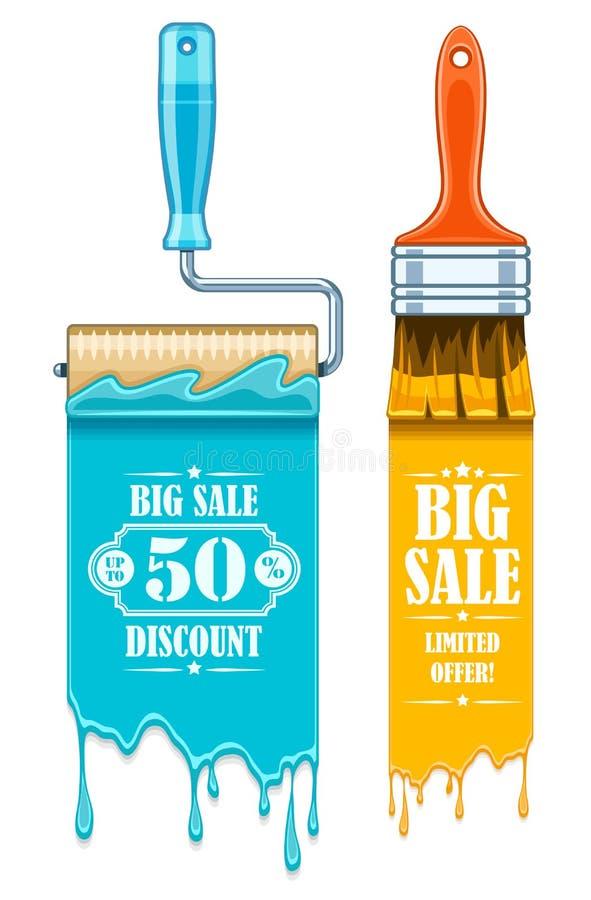 Знамя продажи с щетками и роликами инструментов обслуживания для краски работает продажа рекламы скидки знамени иллюстрация штока
