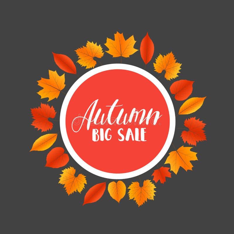 Знамя продаж осени с красочными листьями вектор иллюстрация вектора
