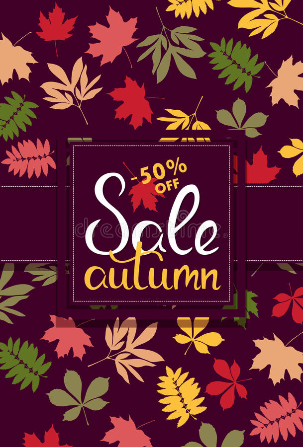 Знамя продаж с multicolor листьями осени вектор бесплатная иллюстрация