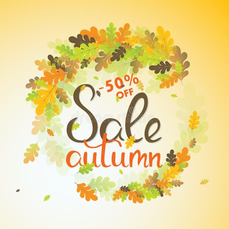 Знамя продаж с multicolor листьями осени вектор иллюстрация штока