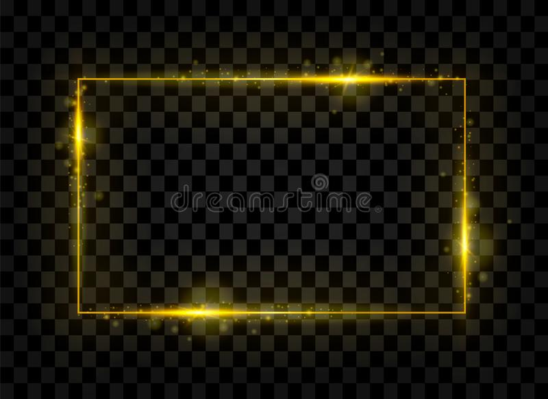Знамя прямоугольника золота сияющее Золотые световые эффекты также вектор иллюстрации притяжки corel иллюстрация штока
