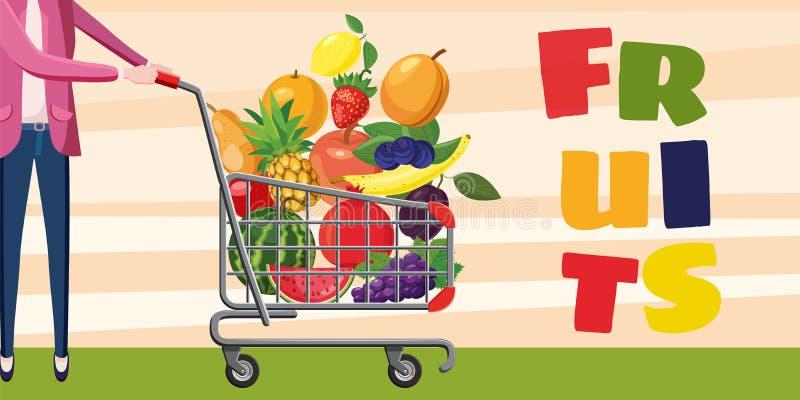 Знамя плодоовощей ходя по магазинам горизонтальное, стиль шаржа иллюстрация штока