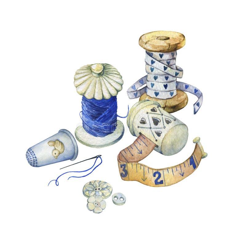Знамя различной объектов нарисованных рукой винтажных для шить, ремесленничества и handmade иллюстрация вектора