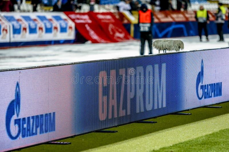 Знамя рекламодателя Газпрома на матче лиги чемпионов UEFA стоковые изображения rf