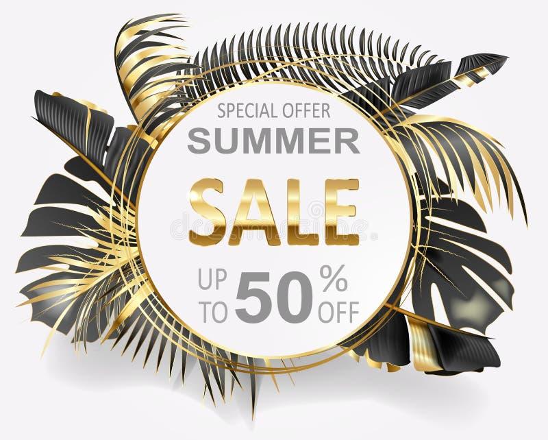 Знамя рекламы вектора с золотом и черными тропическими листьями и продажами лета золота на белизне иллюстрация вектора