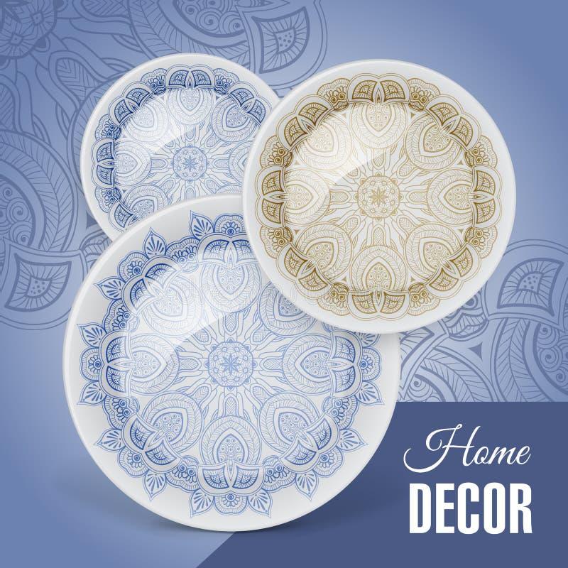 Знамя рекламы с декоративным керамическим tableware бесплатная иллюстрация