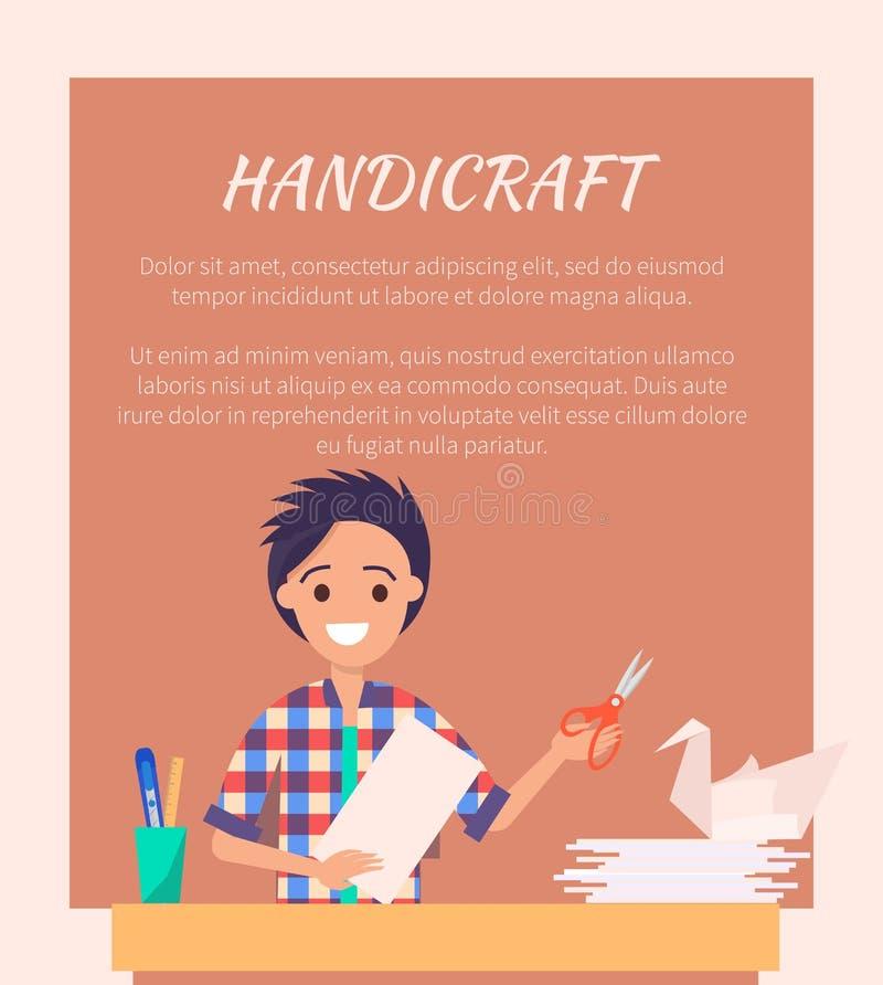 Знамя ремесленничества при человек делая лебедя Origami бесплатная иллюстрация