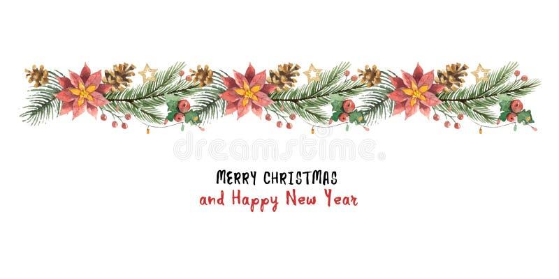 Знамя рождества вектора акварели с ветвями ели и poinsettias цветка иллюстрация вектора