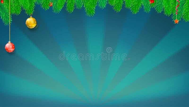 Знамя рождества и Нового Года с зеленой елью разветвляет, шарики рождества и игрушки на фоне с лучами солнца празднично иллюстрация вектора