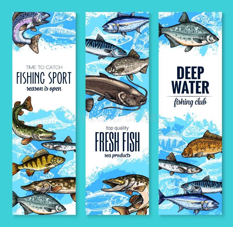 Знамя свежих рыб для морепродуктов и рыбная ловля конструируют иллюстрация вектора